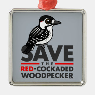Save the Red-cockaded Woodpecker Metal Ornament
