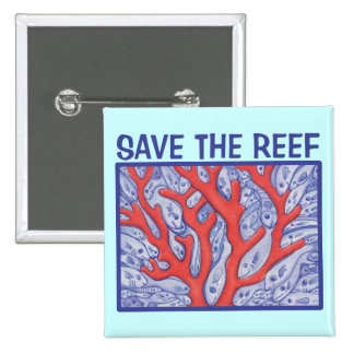 Save the Reef Happy Fish Square Button