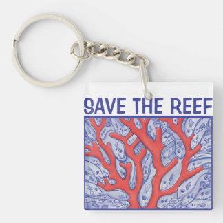 Save the Reef Happy Fish Square Keychain
