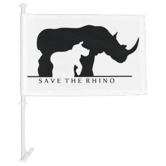 Save The Rhino Car Flag