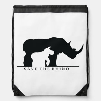Save The Rhino Drawstring Bag