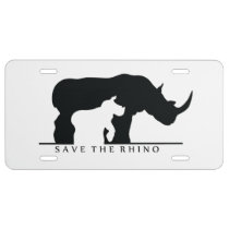Save The Rhino License Plate