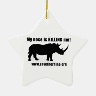 Save the Rhino Ceramic Star Decoration