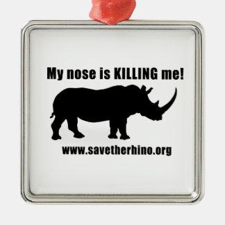 Save the Rhino Silver-Colored Square Decoration