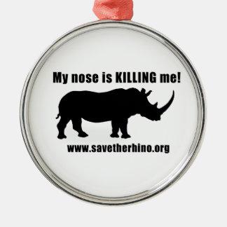 Save the Rhino Silver-Colored Round Decoration