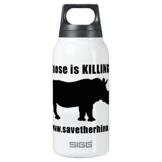 Save the Rhino 10 Oz Insulated SIGG Thermos Water Bottle