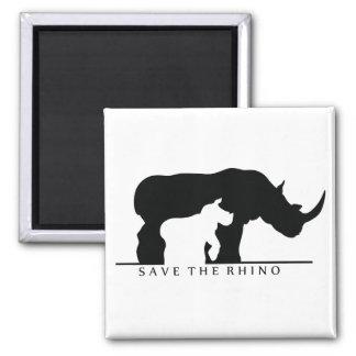 Save The Rhino (white ver.) 2 Inch Square Magnet