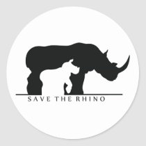 Save The Rhino (white ver.) Classic Round Sticker