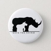 Save The Rhino (white ver.) Pinback Button