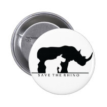 Save The Rhino (white ver.) Pinback Button