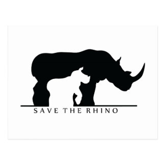 Save The Rhino (white ver.) Postcard
