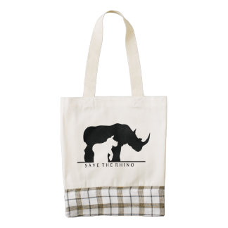 Save The Rhino Zazzle HEART Tote Bag