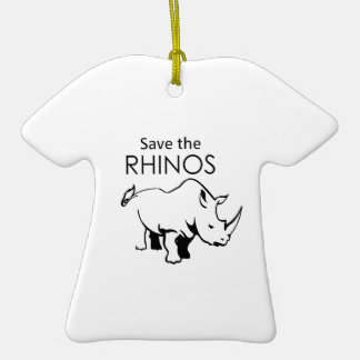 SAVE THE RHINOS Double-Sided T-Shirt CERAMIC CHRISTMAS ORNAMENT