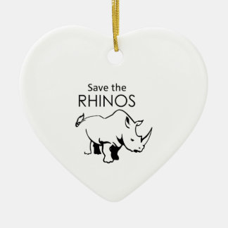 SAVE THE RHINOS Double-Sided HEART CERAMIC CHRISTMAS ORNAMENT