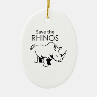 SAVE THE RHINOS Double-Sided OVAL CERAMIC CHRISTMAS ORNAMENT