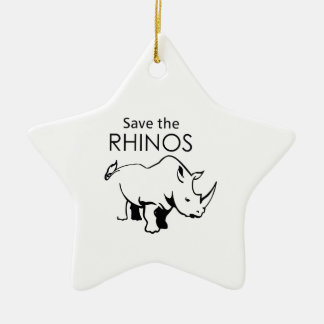 SAVE THE RHINOS Double-Sided STAR CERAMIC CHRISTMAS ORNAMENT