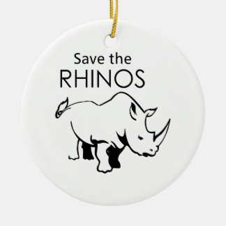 SAVE THE RHINOS Double-Sided CERAMIC ROUND CHRISTMAS ORNAMENT