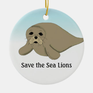 Save the Sea Lions Christmas Ornament