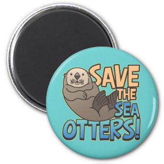 Save The Sea Otters 2 Inch Round Magnet