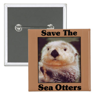 Save the Sea Otters 2 Inch Square Button
