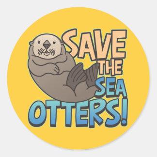 Save The Sea Otters Classic Round Sticker
