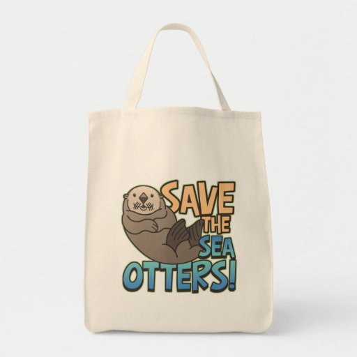 Save The Sea Otters Grocery Tote Bag