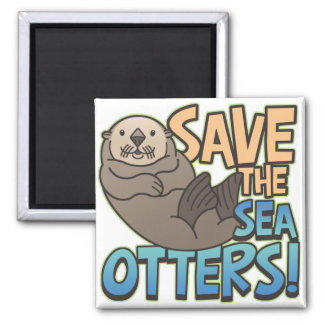 Save The Sea Otters 2 Inch Square Magnet