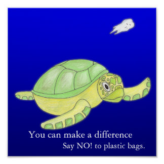 Save the Sea,  Say NO! to plastic bags Poster