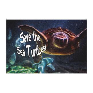 Save the Sea Turtles Animal Photo Canvas Print