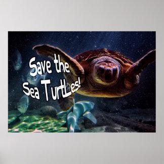 Save the Sea Turtles Animal Photo Posters