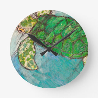 Save The Sea Turtle's Round Clocks