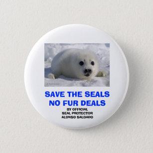 SAVE THE SEALS NO FUR DEALS BUTTON