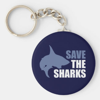 Save The Sharks, Save The Fins Basic Round Button Keychain