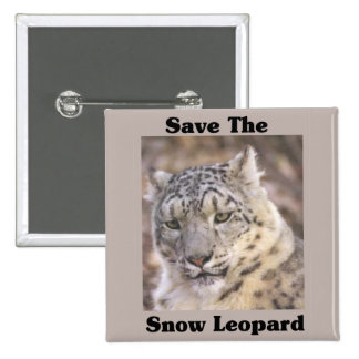 Save the Snow Leopard 2 Inch Square Button
