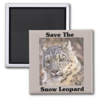 Save the Snow Leopard 2 Inch Square Magnet