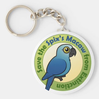 Save the Spix's Macaw from Extinction Basic Round Button Keychain
