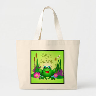 Save the Swamp Beulah Frog Wetland Conservation Large Tote Bag