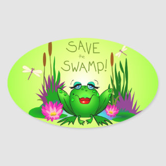 Save the Swamp Beulah the Frog Oval Sticker