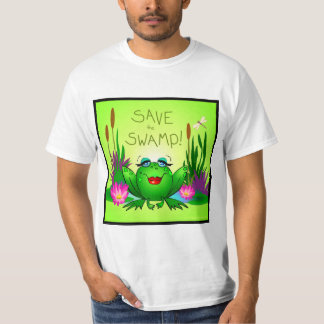 Save the Swamp Beulah the Frog Square Logo T-Shirt