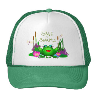Save the Swamp Beulah the Frog Trucker Hat