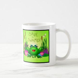 Save the Swamp Beulah the Frog Wetland Art Coffee Mug