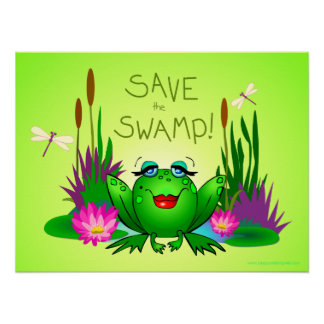 Save the Swamp Beulah the Lady Frog Green Poster