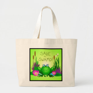 Save the Swamp Eco Friendly Frog Large Tote Bag