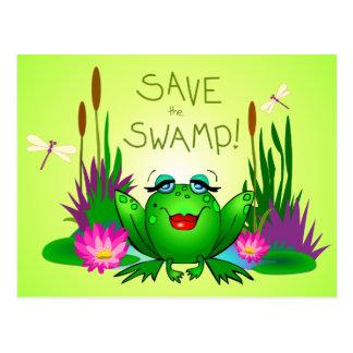 Save the Swamp Femme Fatale Frog Green Postcard