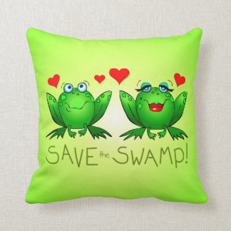 Save the Swamp Frog Love Green Pillow