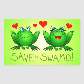 Save the Swamp Frog Love Rectangle Stickers