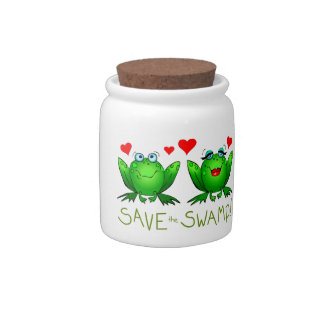 Save the Swamp Frogs Love Ceramic Candy Jar