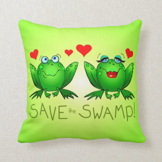 Save the Swamp Frogs Wetland Conservation Throw Pillow