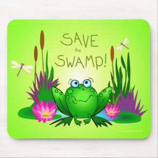 Save the Swamp Twitchy Frog Wetland Conservation Mouse Pad