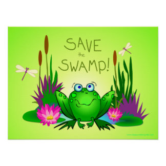 Save the Swamp Twitchy the Frog Green Posters